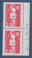 Marianne De Briat Dite Du Bicentenaire N°2629 Neuf 2f30 Rouge En Paire Verticale Et Bord Daté 4-1.10.90 - 1989-96 Marianna Del Bicentenario