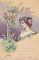 CPA FANTAISIE -  Profil De  Femme  Fleurs Roses (lot Pat 110/2) - Frauen