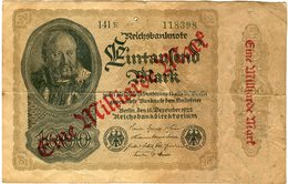 Allemagne Germany 1000 Mark 1 Milliarde Mark 15 Dezember 1922 (sept. 1923) P 113a - [ 3] 1918-1933 : Repubblica  Di Weimar