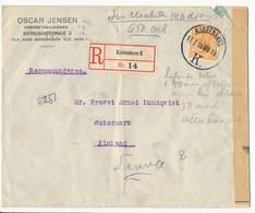 Mi 72 Solo Registered Cover Abroad / Censor, Censur, Censurer - 17 July 1916 Kjøbenhavn K To Teuva, Finland - Covers & Documents