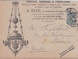 15c Semeuse Lignée S / Env Illustré A NAUD Cristaux Verreries Porcelaines T.P. Ob Paris 4 R D' Enghein 15 II 05 - Marcophilie (Lettres)