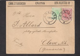 Romania Wheat Ear Cover 1904 From Craiova To Kleve Am Rhein, Mixed Franking 10 Bani Green And 15 Bani Red, Rare! - Covers & Documents