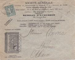 15c Semeuse Lignée S / Env Illustré Ste Générale Service De Coffres Forts T.P. Ob Aubusson Creuse 21 II 12 - Marcophilie (Lettres)