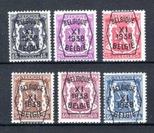 PRE393/398 MNH** 1938 - Klein Staatswapen XI Opdruk Type A - REEKS 11 - Precancels