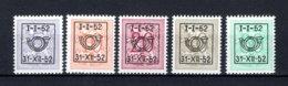 PRE620/624 MNH** 1952 - Cijfer Op Heraldieke Leeuw Type D - REEKS 42 - Préoblitérés