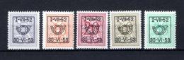 PRE625/629 MNH** 1952 - Cijfer Op Heraldieke Leeuw Type D - REEKS 43 - Préoblitérés