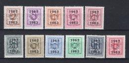 PRE725/735 MNH** 1962 - Cijfer Op Heraldieke Leeuw Type E - REEKS 55 - Precancels