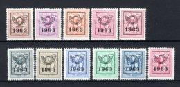 PRE736/746 MNH** 1963 - Cijfer Op Heraldieke Leeuw Type F - REEKS 56 - Precancels