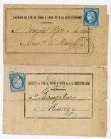 NIEVRE 2X AVIS RECEPTION 1872/73 FOURCHAMBAULT GC T17 DONT 1 AVEC RECEPISSE ENVOI VOIR SCANS - 1849-1876: Période Classique