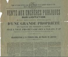 NICE . VENTE D'UN TERRAIN SUR LA PROMENADE . 1894 - Advertising