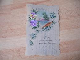 Carte Fantaisie Celluloid  Peinte Fleur Pensee Paysage - Fantasie