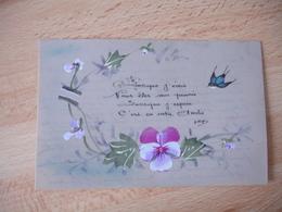 Carte Fantaisie Celluloid  Peinte  Anniversaire Hirondelle Fleurs - Fantasie