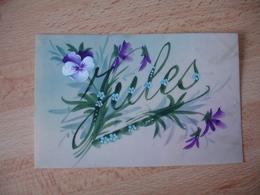 Carte Fantaisie Celluloid  Peinte Prenom Jules Fleur Pensee - Fantasie