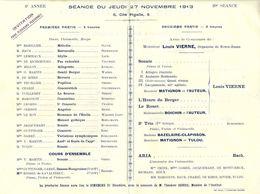MUSIQUE - SEANCE Du Jeudi 27 Novembre 1913 Du COURS CHEVILLARD - PARIS - Audition Publique Des élèves R/V - Programs