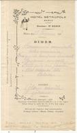 HOTEL METROPOLE . HANOI . 1918 . MENU - Advertising