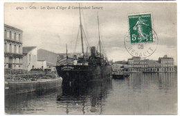 CETTE (SETE) Les Quais D' Alger Et Commandant Samary - Bateau Jeanne D' Arc Marseille (Voilier)  (752 ASO) - Sete (Cette)