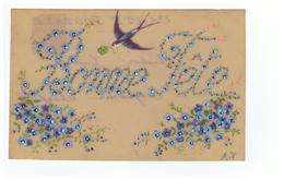 Celluloid Cpa Carte Postale Fantaisie Bonne Fête  Fleur Fleurs Myosotis Hirondelle Cachet 1906 - Holidays & Celebrations