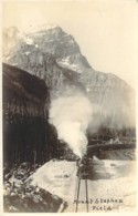 CANADA Along Line Of Canadian Pacific Railway Carte Photo Byron Harmon Mount Stephen Field Locomotive à Pleine Vapeur - Cartoline
