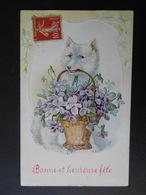 Chien Blanc Portant Panier Plein De Violettes - Gaufrée - Dogs