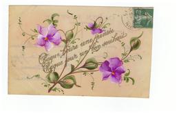Celluloid Cpa Carte Postale Fantaisie Fleur Fleurs Cachet 1900 Chaque Heure Une Pensée Chaque Jour Un Bon Souhait - Other