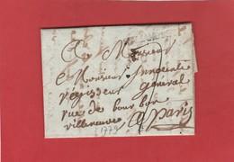 Cher - Saint Amand En Berry - Lettre Vers Paris - 1779 - 36 X 3,5 M/m (Lenain N°1) - 1701-1800: Precursors XVIII