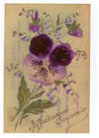 Celluloid Cpa Carte Postale Fantaisie Fleur Fleurs Pensée Feutrine Carte Rehaussée Paillettes Affectueux Souvenir - Other
