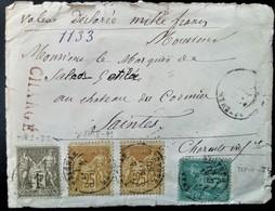 236 FRANCE SAGE PAIX COMMERCE PARIS 1880 CHARGÉ VALEUR DECLAREE HERAULT - 1876-1898 Sage (Type II)