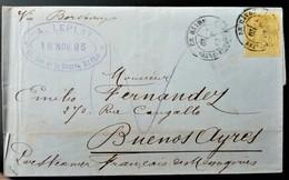 237 FRANCE SAGE PARIS ETRANGER 1885 LE HAVRE BORDEAUX BUENOS AIRES ARGENTINA - 1876-1898 Sage (Type II)