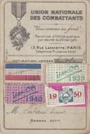 Union Nationale Des Combattants - Carte Membre Actif E. Dubant à Collonges-lès-Bévy (21) Avec Timbres De Cotisations WWI - 1914-18
