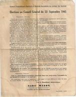 Tract Électoral Elections Cantonales Scrutin 23 Septembre 1945 Canton De Gannat (Allier) André MIZON Radical Socialiste - Historical Documents