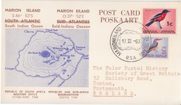 Polaire Sud-africain, 248, 253 (oiseaux) Sur CP Marion Island (Coord.) Obl. Marion Is. Le 17 III 63 Pour L'Angleterre - Cartas