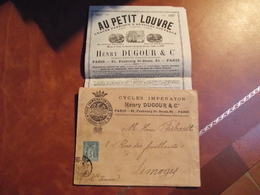 Livret Publicitaire, Au Petit Louvre, Henry Dugour, Enveloppe Cycle Impérator, 1897 - Advertising