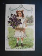 Petite Fille élégante Portant  Un Gros Bouquet De Violettes Dans Paysage Campagne - Gaufrée - Autres