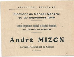 Bulletin De Vote Scrutin 23 Septembre 1945 Canton De Gannat (Allier) André MIZON Radical Socialiste - Historical Documents