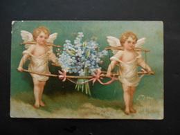 Angelots Portant Bouquet De Myosotis Avec Bâtons En Bois - Gaufrée - Anges