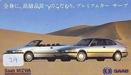 TELEFONKARTE JAPAN * SAAB (29)   Phonecard  * VOITURE * AUTO * CAR * Telecarte JAPON - Cars