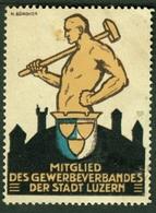 """Schweiz Suisse Luzern ~1923 Art Deco Künstler M.Zürcher """" Mitglied Gewerbeverband """" Vignette Cinderella Reklamemarke - Cinderellas"""