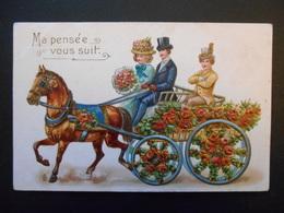 Cheval Marron Tirant Une Charrette Pleine De Fleurs Rouges Avec Un Couple Et Un Jeune Homme - Gaufrée - Horses