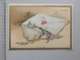 CHROMO AU BON MARCHE Grand Format PARIS ART: ENVELOPPE Et MYOSOTIS Série P4 (PACON) _ Illustrateur MULLER - Au Bon Marché