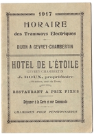 Horaires Des Tramways Electriques De Dijon à Gevrey-Chambertin (21) - Année 1917 - Europe
