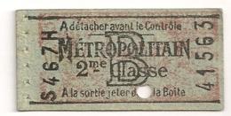 ANCIEN TICKET DE METRO PARIS 2eme Classe Tarif B / PUB VINS  NICOLAS C272 - Europe