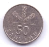 LATVIA 1992: 50 Santimu, KM 13 - Letonia