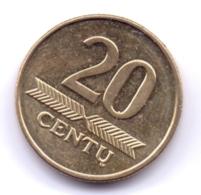 LIETUVA 2008: 20 Centu, KM 107 - Lituanie