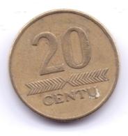 LIETUVA 1998: 20 Centu, KM 107 - Lituanie