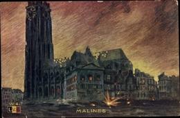 Cp Mechelen Malines Flandern Antwerpen, Gebäude Nach Der Brandkatastrophe - Belgien