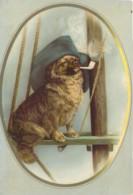 Carton Format CP Illustré D'un Chien Corsaire Qui Fume La Pipe Daté Belleville Juin 1880 - Otras Colecciones