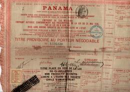 Canal De Panama - Titre Au Porteur Avec Timbre Fiscal - !!pli & Petites Déchirures - Shareholdings