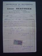 FACTURE Timbre Fiscal 1922 : ENTREPRISE MACONNERIE BEAUSSIER / TOULON ( VAR ) - France