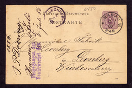 Deutsches Reich - Postkarte HANAU - Leonberg - 4.7.86 - P12 - Deutschland