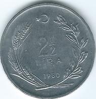 Turkey - 2½ Lira - 1980 - KM938 - Fisheries - FAO Edging ↑ On Reverse - Turquia